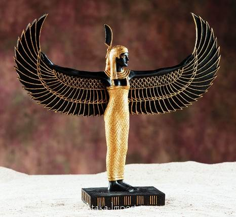EGYPTIAN MAAT STATUE WITH OPEN WINGS (5960)