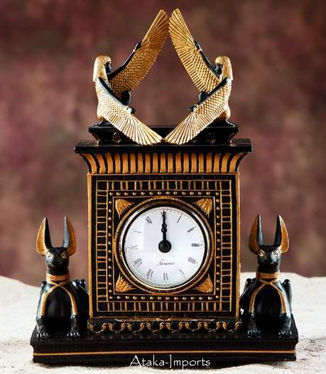 EGYPTIAN ANUBIS & ISIS ANTIQUE CLOCK (5959)