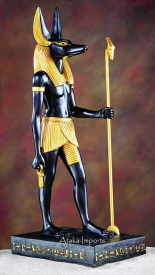 "EGYPTIAN ANUBIS STANDING STATUE 16""H (5277s)"