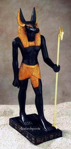 STANDING EGYPTIAN GOD ANUBIS STATUE (5055s)