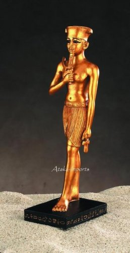 EGYPTIAN -AMON-RE GOLDEN STATUE- SUN GOD (5009)