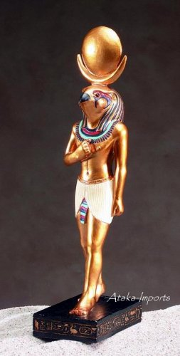 EGYPTIAN HORUS FALCON GOLDEN STATUE (5077)