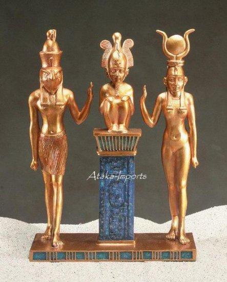 TRIAD-HORUS-OSIRIS-ISIS EGYPTIAN STATUE (5095s)