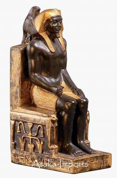 EGYPTIAN KHAFRE w HORUS-SUN GOD FIGURINE (6123)