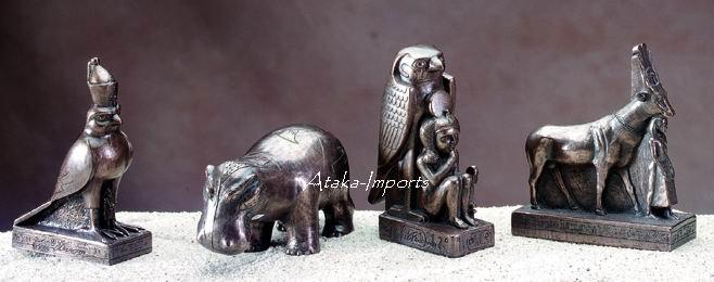 EGYPTIAN HORUS-FALCON-HIPPO-CRIOSPHINX FIGURINE SET-NEW (5115)