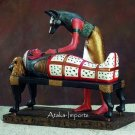EGYPTIAN ANUBIS PREPARING MUMMY w COFFIN STATUE (7705)
