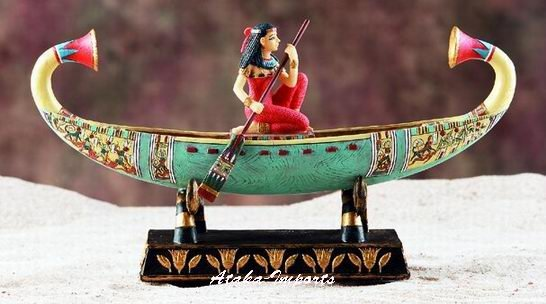 EGYPT-EGYPTIAN GIRL ON BOAT STATUE (6068)