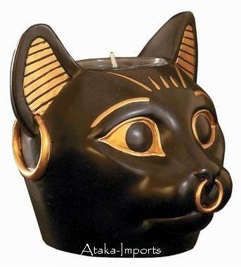 BAST-EGYPTIAN BASTET CANDLEHOLDER-FINEST (6111)
