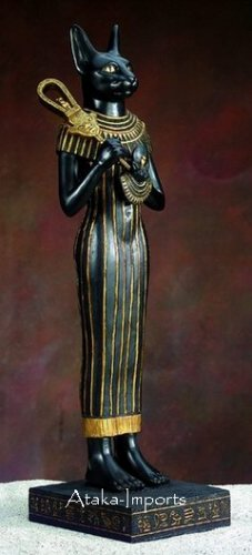 BASTET HOLDING AEGIS-SISTRUM-EGYPTIAN STATUE (5312)