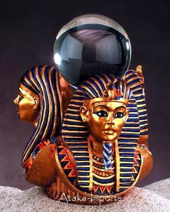 3 GOLD MASK OF KING TUT STATUE w ORB (5004)
