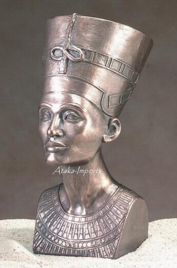 EGYPTIAN QUEEN NEFERTITI-BRONZE-BUST (5124)
