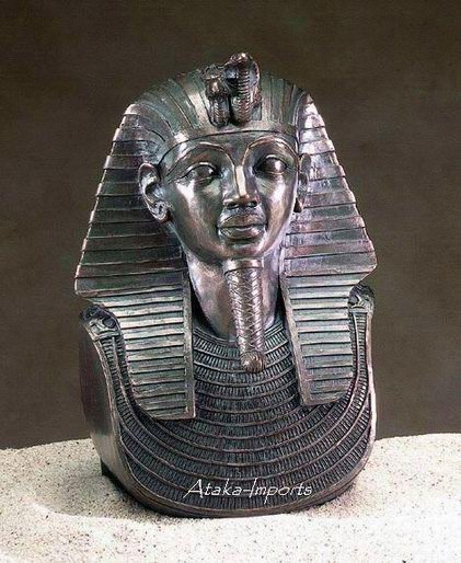 EGYPTIAN KING TUT BRONZE BUST (5096)