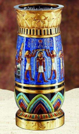 EGYPTIAN GOD & GODDES VASE -GORGEOUS (6052s)