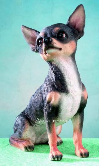 BLACK CHIHUAHUA DOG FIGURINE-STATUE (4965)
