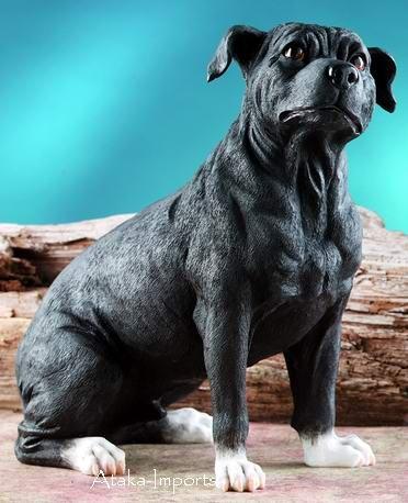 STAFFORDSHIRE BULL TERRIER DOG FIGURINE-STATUE-STAFFIE-STAFFY (5898)