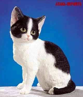 BLACK AND WHITE-MIXED-CAT FIGURINE-STATUE (5264s)