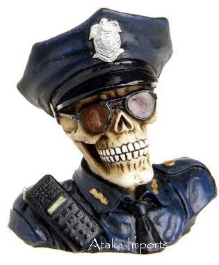 POLICE SKULL FIGURINE-STATUE-SKELETONS-POLICEMAN-HALLOWEEN (6388)