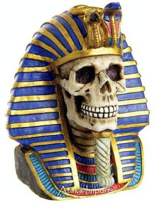 EGYPTIAN KING TUTANKHAMUN-TUT SKULL FIGURINE-SKELETONS-HALLOWEEN (6383)