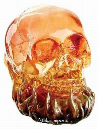 RED FLAMING TRANSLUCENT SKULL w LED-BIZARRE (6401)