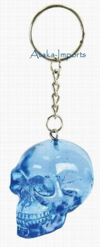BLUE TRANSLUCENT SKULL KEY CHAIN-BUY NOW-NEW-HALLOWEEN (6397d)