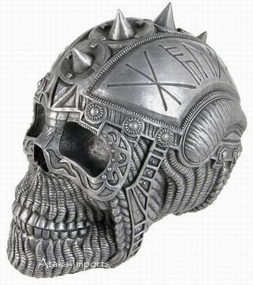 VIKING SKULL CIGAR ASHTRAY-GLADIATOR STATUE-COOL-HALLOWEEN (6419)