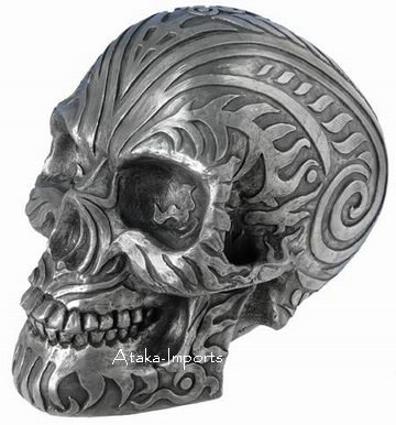 MOARI RAM SKULL STATUE -SILVER -BUY NOW-NEW (6414)