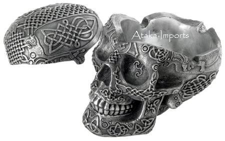 CELTIC LION -SILVER SKULL ASHTRAY -BUY NOW (6417)