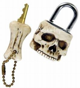 SKULL PADLOCK-LOCK n KEY-BIZARRE -NEAT SKELETONS-NEW (6392)
