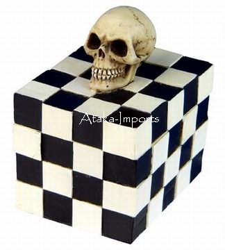 SKULL CHECKER BOX-SKELETONS-NEAT-NEW (6403)
