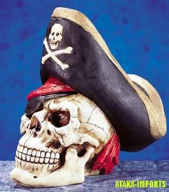 PIRATE SKULL HEAD MONEY BANK STATUE-BIZARRE-COOL (5258)