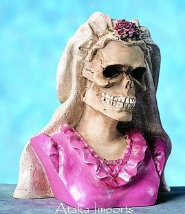 BRIDE-BRIDAL SKULL-SKELETONS CAKE TOPPER-FIGURINE-SALE (4371)