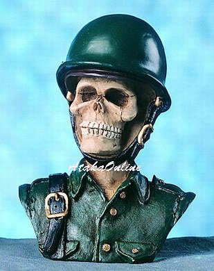 COMBAT ARMY SKULL FIGURINE-SKELETONS BUST-BUY NOW (4586)