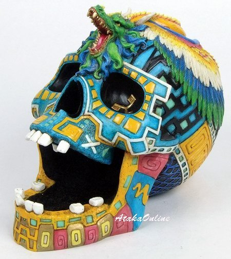 MAYAN SKULL ASHTRAY-MAYAN CULTURE-COLORFUL-HANDPAINTED (6508)