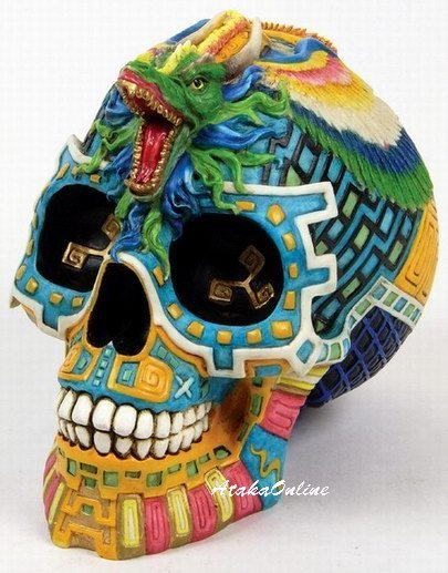 MAYAN SERPENT SKULL MONEY BANK-MAYAN CULTURE-COLORFUL-HANDPAINTED (6510)