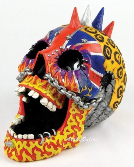 PUNK ROCK SKULL ASHTRAY-COLORFUL-HANDPAINTED (6512)