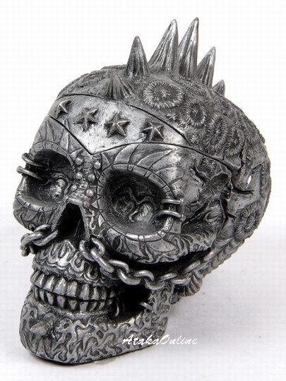 PUNK ROCK SKULL ASHTRAY-METALLIC COLOR-HANDPAINTED (6515)