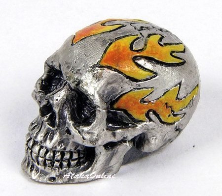 MINI SKULL FIGURINE-FLAME-PEWTER-METALLIC-WOW (6491)