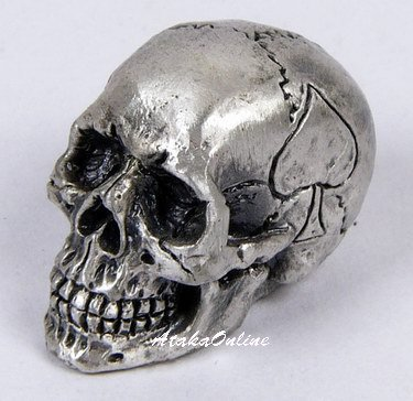 MINI SPADE SKULL FIGURINE-PEWTER-METALLIC-WOW (6490)