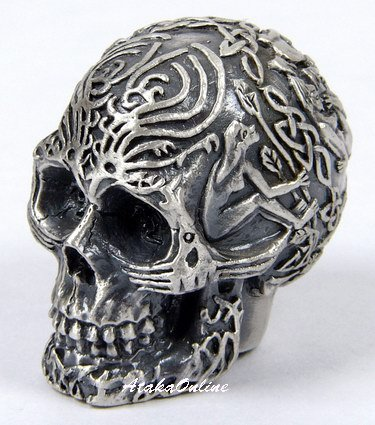 MINI TRIBAL SKULL FIGURINE-PEWTER-METALLIC (6487)