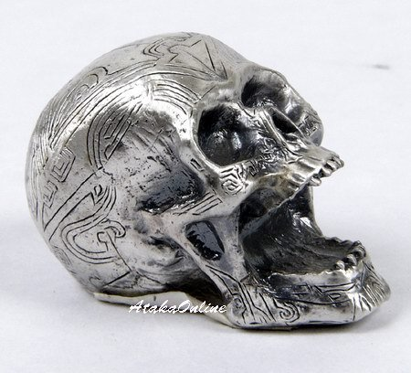 MINI TATTOO SKULL FIGURINE-PEWTER-METALLIC (6488)