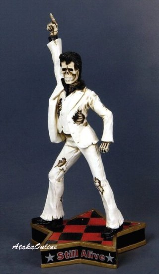 ELVIS PRESLEY SKELETON FIGURINE-ROCK'N ROLL-KING-STILL ALIVE (6501)
