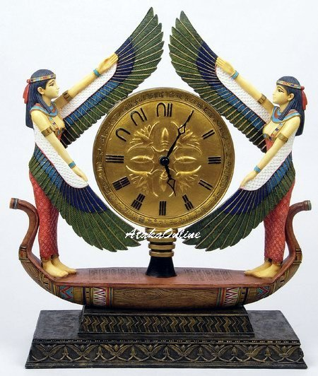 EGYPTIAN CLOCK -GODDESS MAAT ON THE BOAT-GORGEOUS (6465)