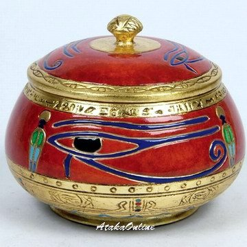 EYE OF HORUS-RA-EGYPTIAN RED SUGAR JAR-CERAMIC (6483)