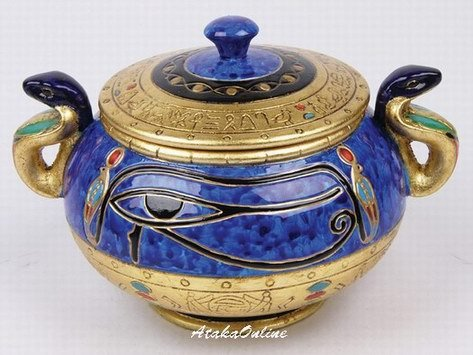EYE OF HORUS-RA-EGYPTIAN COBRA SUGAR JAR-CERAMIC (6485)