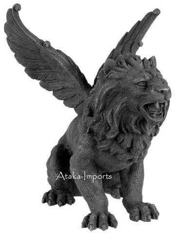 ROARING LION GARGOYLE STATUE-GOTHIC (6320)