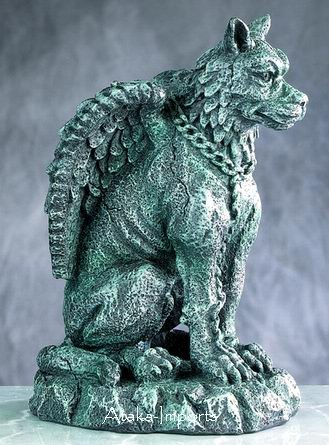GOTHIC-GARGOYLE w FEATHERED WINGS STATUE-NEAT-GORGEOUS (4991)