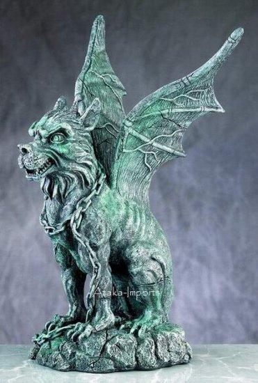 GOTHIC-OPEN WINGS GARGOYLE-ANCIENT STONE GUARDIAN-NEAT (4990)