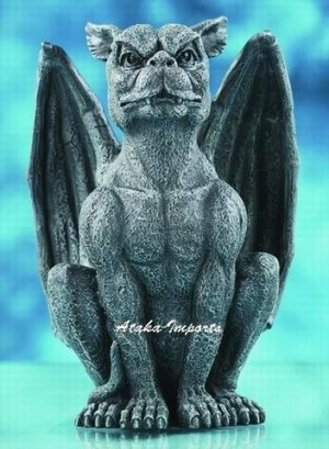 CROUNCHING GARGOYLE w WINGS STATUE-GOTHIC-GORGEOUS (5992)
