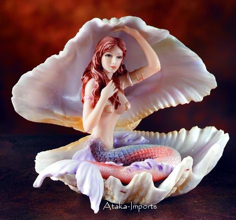MERMAID SITTING IN SHELL-STATUE-FIGURINE-LIVELY (5918s)