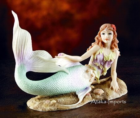 MERMAID LYING W PEARL-FIGURINE-STATUE (5859)